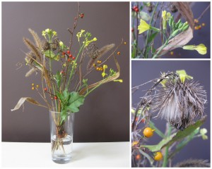 Bouquet of burdock, grass, berries and yellow flowers
